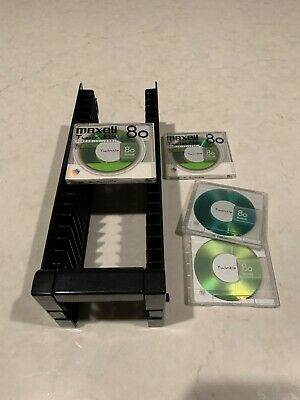 MiniDisc Storage Rack with 4 Maxell 80 Twinkle MiniDiscs of which 2 still sealed