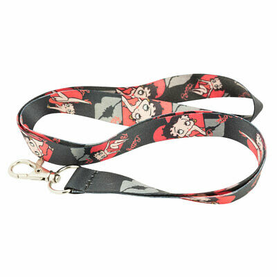Betty Boop Red Black Heart Kiss Keychain Holder Lanyard