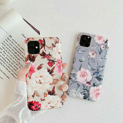 Womens iPhone 6 7 8 XR X XS MAX Flower Case Shockproof Rubber TPU Silicone Cover