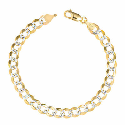 "10K Yellow Gold Solid Cuban Curb Bracelet Pave Chain 4.7mm 7"" 7 Inch Mens Womens"