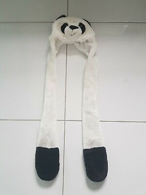 Childs Panda Fur All In One Hat Gloves Scarf Set