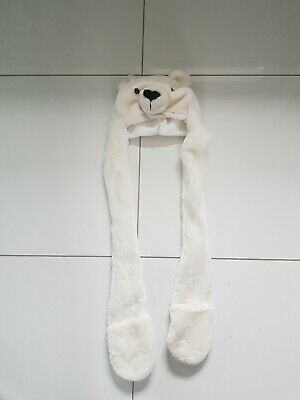 Childs Polar bear Fur All In One Hat Gloves Scarf Set