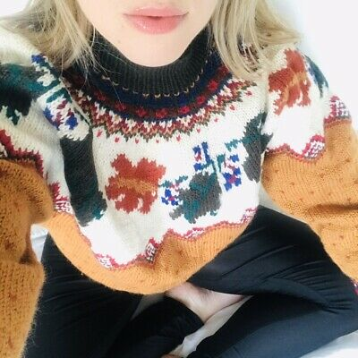 Vintage 90s Chunky Knit Wool Mustard Patterned Indie Quirky Jumper Sweater L