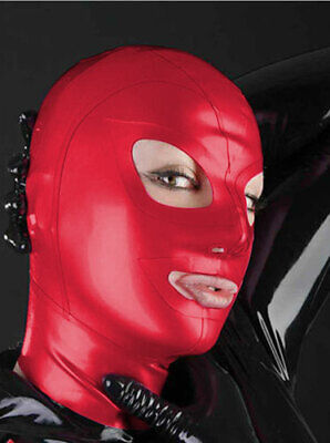 Unisex Latex Mask Realistic Sexy Rubber Hood Red Cosplay Cool Maske 0.4mm S-XXL