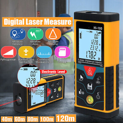 Handheld Digital Laser Point Distance Meter Measure Tape Range Finder 120M