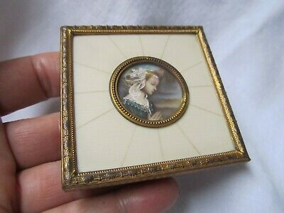 Antique Vintage French ? Miniature maiden Gilt metal frame Picture