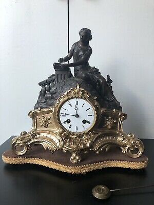 Antique Marble Clock - French Spelter Figural Clock - Mantel