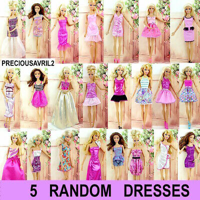 new barbie doll clothes clothing sets 5 x random outfits dress casual party