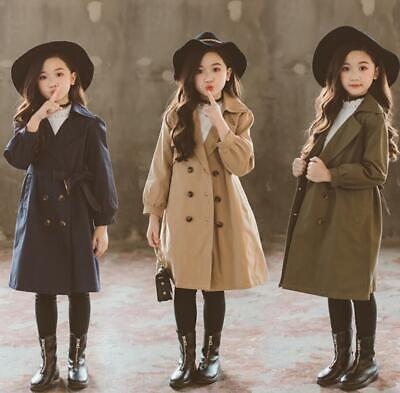 Kids Girls Double breasted Trench Beltted jacket Coat Tops Long Sleeve Overcoat