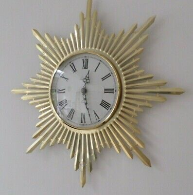Vintage Mid Century Timemaster Sunburst Gilt Wall Clock Retro - Very Rare