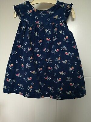 John Lewis Baby Girls Navy Birds Print Cord Dress - Size 3-6 Months. Lovely Con.