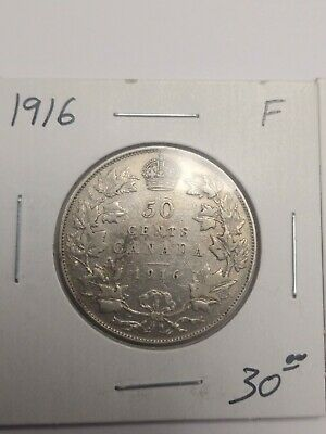 Canada 50 cents silver coin 1916 King George V
