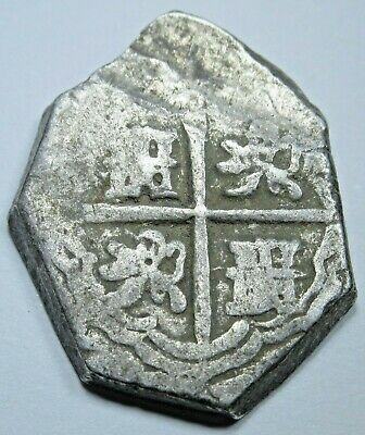 1600's Spanish Silver 2 Reales Piece of 8 Real Colonial Two Bit Pirate Cob Coin