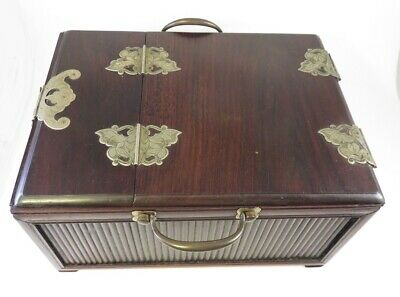 Rare Large Antique Chinese Rosewood Jewelry Box  Butterfly And Bat Motif Hinges
