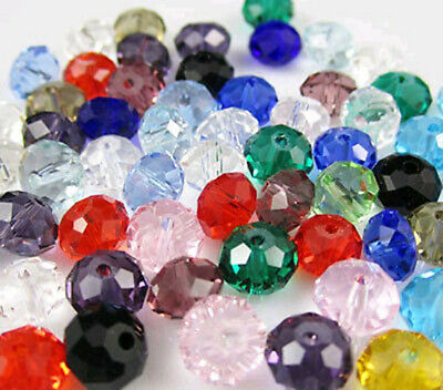 100pc 6x8mm Faceted Rondelle Crystal Glass Loose Spacer Beads AB