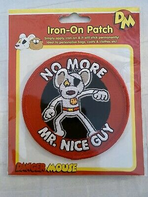 DM Danger Mouse LogoSpecial Iron-On Sew-On Embroidered Patch// Badge For Clothes