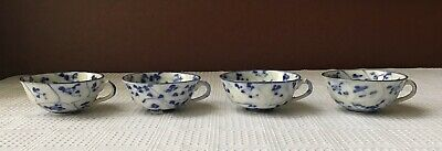 Lot Of 4 Antique Chinese Porcelain Teacups, Blue & White