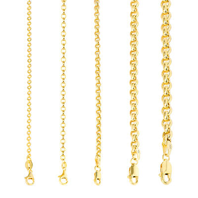 """10K Yellow Gold 2mm-5mm Rolo Round Cable Link Chain Pendant Necklace, 16""""- 30"""""""