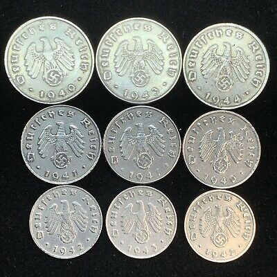 9 Coin Lot Nazi WW2 German Reichspfennig Zinc Swastika Coins Buy 3 Get 1 Free