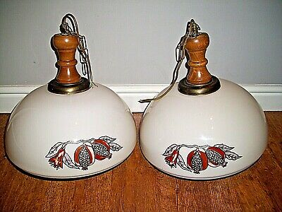 Vintage Pair of Large Stained Milk Glass Pendant Lights (with Wooden Fixtures)