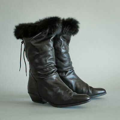Vintage 80's 90's Yessica Women's Leather Italian Calf Boots UK 4 EUR 37 US 6