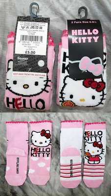 2 x  PRS GIRLS HELLO KITTY SOCKS PINK & WHITE COTTON SIZE 6-8.5 BNWT RRP £5.00