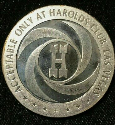 $5 1967 Sterling Silver Harolds Club, Las Vegas Gaming Slot Token    Error Coin