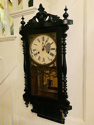 "Blackened Victorian ""New Haven"" 8 day wall clock Circa 1870"