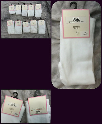 age 7-8 years - Girls White Super Soft  warm Cotton rich Tights -  bnwt X-store