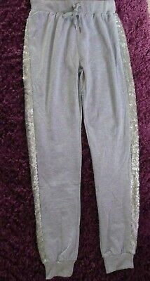 Sequin side panel Girls/Womens GREY Jogging bottoms UK SIZE 10-12 inside leg 32""