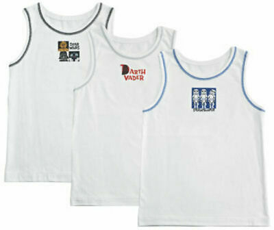 Pack Of 3 X  Disney Boys  White Star Wars Vests Multi Age - 2/3 Years Brand New