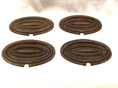 4 Brass Plates Reclaimed Furniture Hardware Adornments Mounts Pediments Repousse