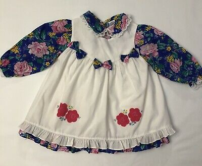 Vintage Baby Toddler Girl Party Dress Floral 2 Pc Pinafore Lace Ruffle 24m Bows