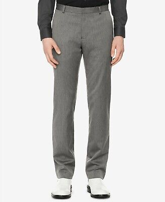 $275 Calvin Klein Mens 32W 30L Gray Slim-Fit Stretch Trousers Casual Dress Pants