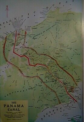 Vintage 1929 PANAMA CANAL - CANAL ZONE MAP Old Original & Authentic Atlas Map