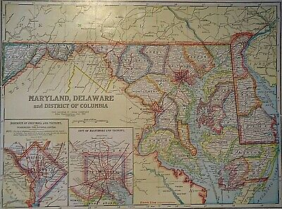 Vintage 1929 MARYLAND - DELAWARE MAP Old Original & Authentic ~ Quick N Free