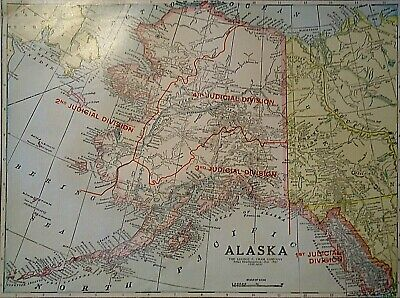 Vintage 1929 ALASKA - ALASKAN TERRITORY MAP Old Original Authentic Quick N Free