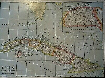 Vintage 1929 CUBA - HAVANA MAP Old Original & Authentic Atlas Map ~ Quick N Free