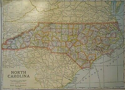 Vintage 1929 NORTH CAROLINA MAP Old Original & Authentic Atlas Map Quick N Free