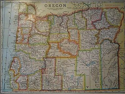 Vintage 1929 OREGON MAP Old Original & Authentic Atlas Map ~ Quick N Free
