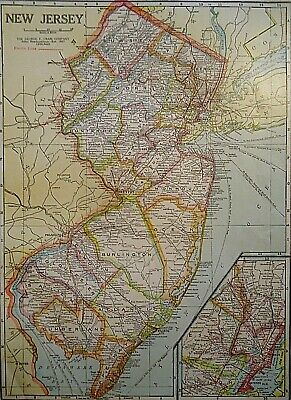 Vintage 1929 NEW JERSEY MAP Old Original & Authentic Atlas Map ~ Quick N Free