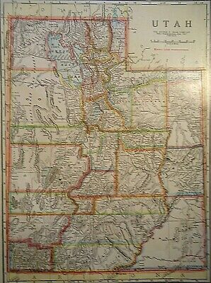 Vintage 1929 UTAH MAP Old Original & Authentic Atlas Map ~ Quick N Free