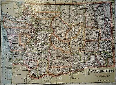 Vintage 1929 WASHINGTON MAP Old Original & Authentic Atlas Map ~ Quick N Free