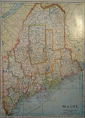 Vintage 1929 MAINE MAP Old Original & Authentic Atlas Map ~ Quick N Free