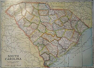 Vintage 1929 SOUTH CAROLINA MAP Old Original & Authentic Atlas Map  Quick N Free