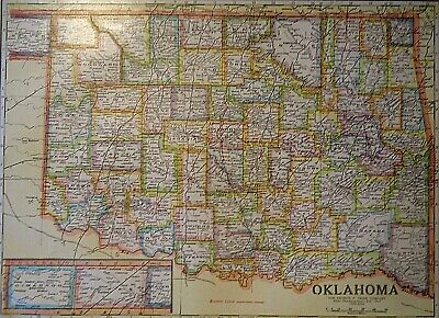 Vintage 1929 OKLAOMA MAP Old Original & Authentic Atlas Map ~ Quick N Free