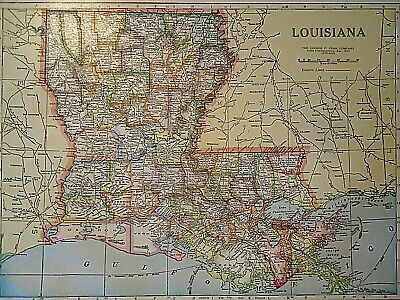 Vintage 1929 LOUISIANA MAP Old Original & Authentic Atlas Map ~ Quick N Free
