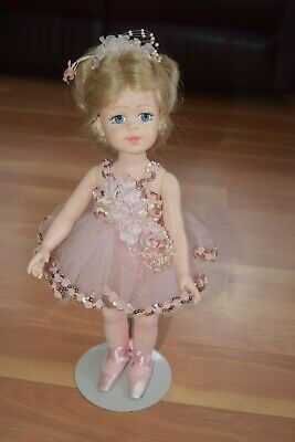 1989 Signed Robin Woods Ballerina 14 Inch Doll Painted Eyes Pink Outfit & Stand