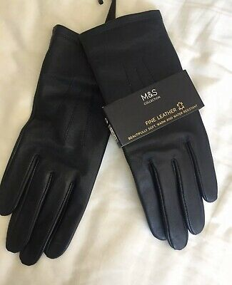 Marks And Spencer Ladies Leather Gloves Navy Size Small Brand New
