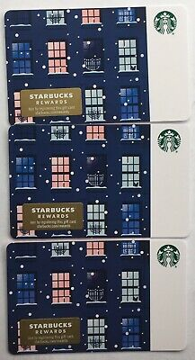 "Lot 3 Starbucks ""HANUKKAH WINDOWS"" Christmas 2019 Recycled Paper Gift Card set"